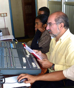 Firdaus Kharas dubbing The Three Amigos in Madagascar. Courtesy of Chocolate Moose Media