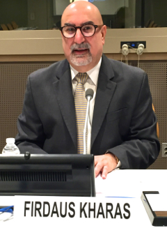 Firdaus Kharas addresses the United Nations' Infopoverty Conference in New York. Photo by Neelley Hicks.